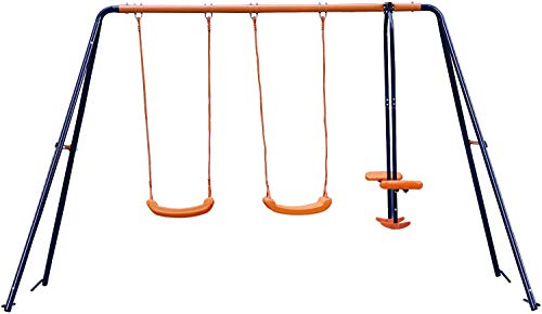 Smartxchoices Kid's Swing Set with Steel Frame and 2 Swing Seats with 1 Seesaw Play Set, Metal A-Frame Garden Double Swing Slider Set for Children, Garden Outdoor