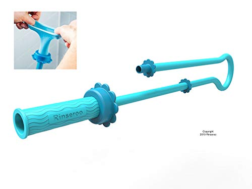 Rinseroo: Slip-on Dog Wash Hose Attachment. Pet Bather for Showerhead and Sink. Handheld Shower Sprayer/Rinser. Fits Most Faucets. Universal 5 Foot Flex Hose-No Installation. (Note: Tub Spout Warning)