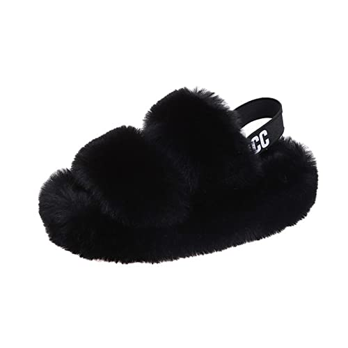 TTFF Pantuflas Cálido Invierno Calienta Interior,Zapatillas de Suela Gruesa con Tirantes en la Espalda, Zapatos de Piel cálidos y Resistentes al Desgaste,Pantuflas Antideslizantes Hombre