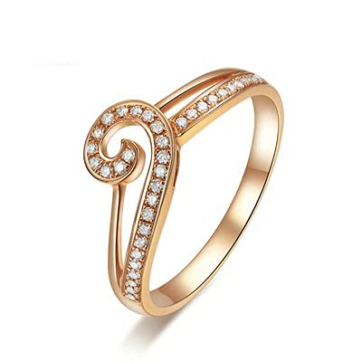 Bishilin Anillos de Boda Oro Rosa 750, Filigree Anillo con Diamante 0.141ct Anillo de Compromiso de Boda Ajuste Cómodo Aniversario Cumpleaños Oro Rosa