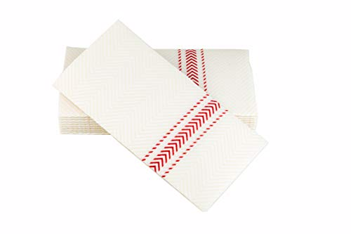 ClassicPoint Dinner Napkins - Red Bistro Stripe - Decorative & Disposable - Soft, Absorbent & Durable (15.5
