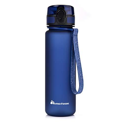 Bottiglia Acqua Senza BPA Borraccia per Bambini Adolescenti e Adulti Ideale per Bici Sportivo Campeggio Scuola Ufficio Palestra Plastica Tritan Diverse Dimensioni e Colori (500ml, blu navy)