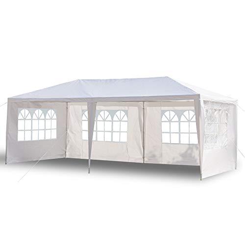 Tonnelle de Jardin Tonnelle Pliante Imperméable Tente de Reception 3X6m avec 4 Parois aux UV Pavillon Blanc Bâche PE Epaisse de env pour Fête Marriage Les Activités Commerciales