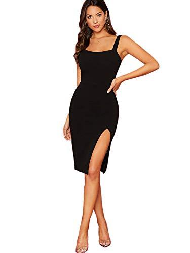DIDK Damen Kleid Trägerkleid Bodycon Schulterfrei Partykleid Einfarbig Freizeitkleid mit Schlitz Schwarz S