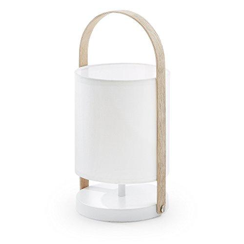 Kave Home - Lámpara de sobremesa Zayma blanca de algodón 100% y asa de madera
