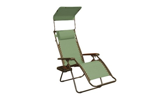 Bliss Hammocks Zero Gravity Chair with Canopy and Side Tray, Sage Green, 26' Wide
