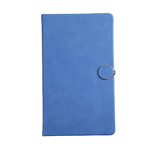 Cuaderno A6 grueso con hebilla, cuero suave, con borde, 200 páginas - Material de papelería para el hogar o la oficina - Color: Azul