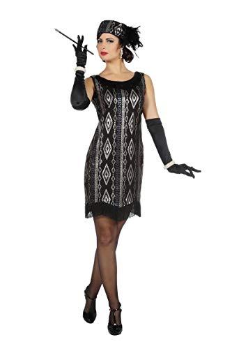 Wilbers Disfraz de charlestón Negro y Plateado para Mujer