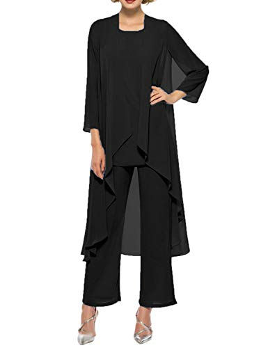 2018 Womens Chiffon Plus Size Pant Suits Mother of The Bride 3 Pieces Long Jacket Sexy Split Side Evening Dresses Formal Party Costume YJ001 Black Size 22W
