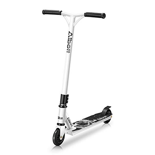 Albott Pro Scooter Complete Trick Scooter Freestyle Aircraf Aluminum Entry Level Stunt Scooters for Kids 8 Years and Up, Boys, Girls, Teens High Performance Kick Scooter for Skatepark Street (White)