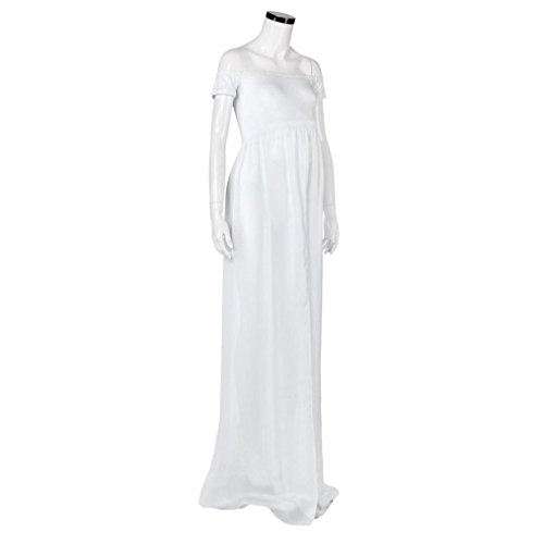 K-youth® Vestidos Mujer Fiesta Largos Boda Mujer Embarazada Encaje Sin Tirantes Vestido de Maternidad Foto Shoot Dress Faldas Fotográficas de Maternidad Apoyos De Fotografía (Blanco, M)