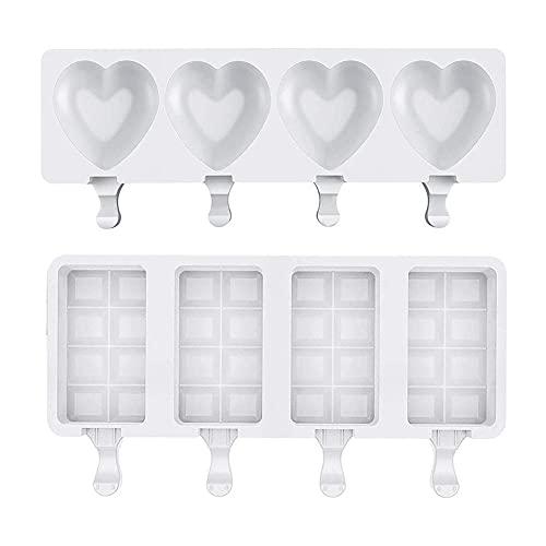 Molde Gominolas Silicona 4 Grid Helado Molde De Silicona En Forma De Corazón Cubo Cuadrado Diy Herramientas Para El Hogar Popsicle Homemade-A + B_Pc 1
