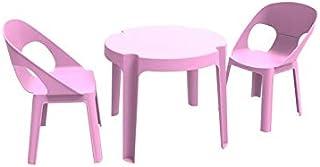 resol Rita set infantil de 2 sillas y 1 mesa para interior, exterior, jardín - color rosa