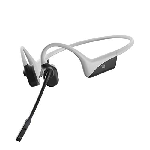 AfterShokz OpenComm Wireless Stereo Bone Conduction Bluetooth Headset with Noise-Canceling Boom Microphone for Office Home Business Trucker Drivers Commercial Use,Light Grey