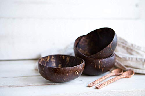 Packawin Schalen und Löffel aus Kokosnuss, 2-er Set, 100 % natürlich, handgefertigt, poliert, langlebig, leicht, einfach zu reinigen. - 3