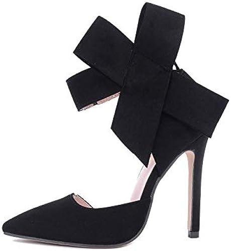 MKHDD Femmes Big Bow Tie Pumps Papillon Pointu Talons Hauts Stiletto Chaussures en Daim Bowknot Chaussures De Mariage