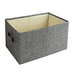 Caja de almacenamiento de tela con tapa, caja de almacenamiento de tela plegable, contenedor de ropa, organizador de armario, dormitorio, armario, sala de estar, 41 x 24 x 17 cm, gris