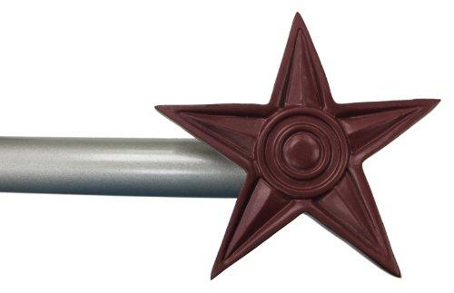 "Urbanest Star Window Curtain Drapery Rod Set (Red Star Finial, 28""-48"")"