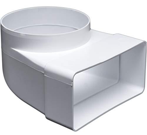 Umlenkstück 90°, Ø 100 mm für 55 x 110 Flachkanal Lüftungssysteme. Abluftkanal oder Zuluftkanal. Hohe Qualität ABS-Kunststoff (FS55-C100)