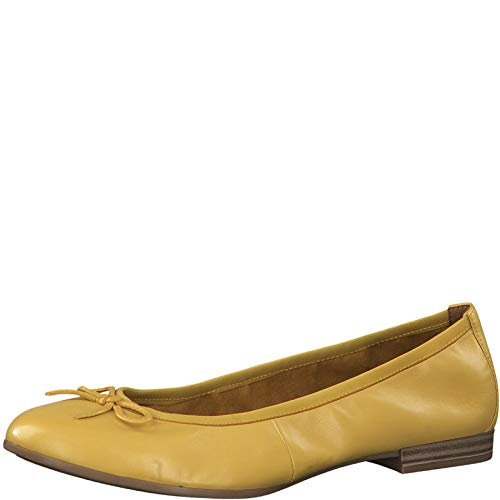 Tamaris Damen Ballerinas 22116-24, Frauen KlassischeBallerinas, Schleife Frauen weibliche Lady Ladies feminin Women's Woman,Sun,41 EU / 7.5 UK