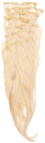 Love Hair Extensions - LHE/K1/QFC/120G/10PCS/18/60 - Thermofibre™ Lisses et Soyeux - 10 Pièces Clippants en Extensions - Couleur 60 - Blond Pur - 46 cm