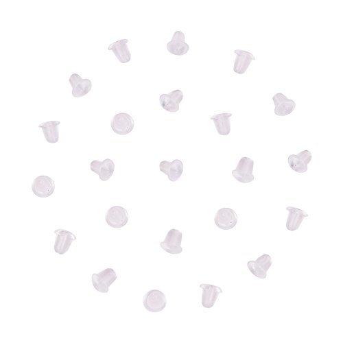 Pandahall 500 Stück Kunststoffe Klar Gummi Ohrring Ohrstopper Sicherheit Rücken Kupplung Ohrring Stopper für Ohrstecker