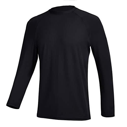 QRANSS Long Sleeve Swim Tshirt for Men Rash Guard Atheletic Tee Skins UPF 50+ (Black, Large)