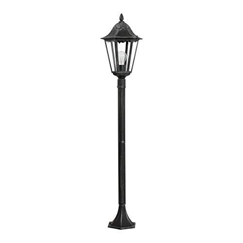 EGLO Außen-Stehlampe Navedo, 1 flammige Außenleuchte, Stehleuchte aus Aluguss und Glas, Farbe: Schwarz, silber-patina, Fassung: E27, H: 120 cm, IP44
