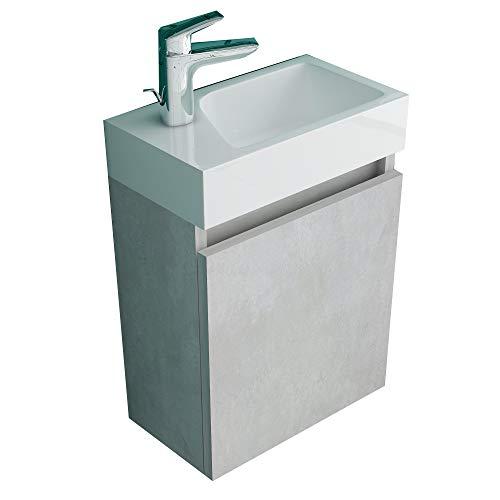 Alpenberger Lugano 400(Cement) Vormontiertes 40cm Badmöbel-Set   Waschbeckenunterschrank mit Soft-Close Funktion   Elegante&Platzsparende Einrichtungslösung…