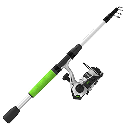 Zebco Roam Spinning Reel and Telescopic Fishing Rod Combo, Extendable 19-Inch to 6-Foot Telescopic Fishing Pole with ComfortGrip Rod Handle, Instant Anti-Reverse Fishing Reel, Green