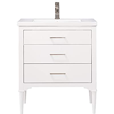 "LUCA Kitchen & Bath LC30DWP Austin 30"" Bathroom Vanity Set Integrated Porcelain Top, Pure White"