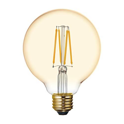 GE Globe LED Vintage Light Bulb, G30 Amber Glass LED Edison Bulb (60 Watt Replacement Dimmable LED Light Bulbs), 400 Lumen, Medium Base Light Bulbs, 1-Pack E26 Edison Bulb