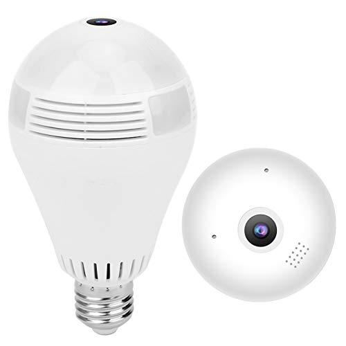 Caméras d'ampoule 2.4G Wi-Fi HD blanc, ampoule de caméra 1080P Caméra panoramique à 360 degrés avec vision nocturne, caméra de sécurité à domicile pour bébé 100-240V