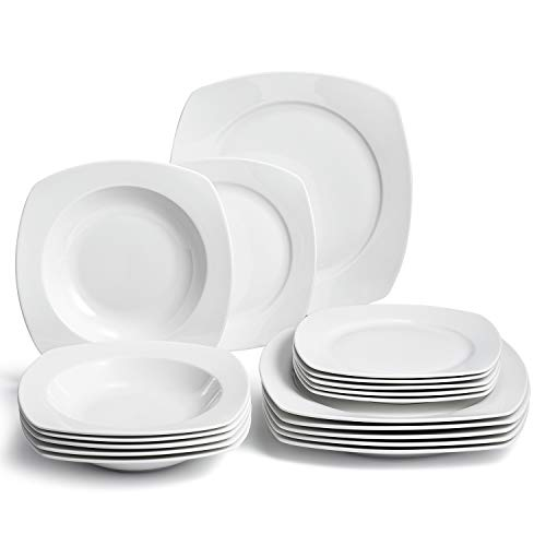 SUNTING 'Klassisch' Porzellan Geschirrset Weiß Rund 18-teilig Stilvoll Quadratisch Kombiservice Geschirr Set mit je 6 Dessertteller, 6 Speiseteller, 6 Suppenteller, Geschirrservice für 6 Personen