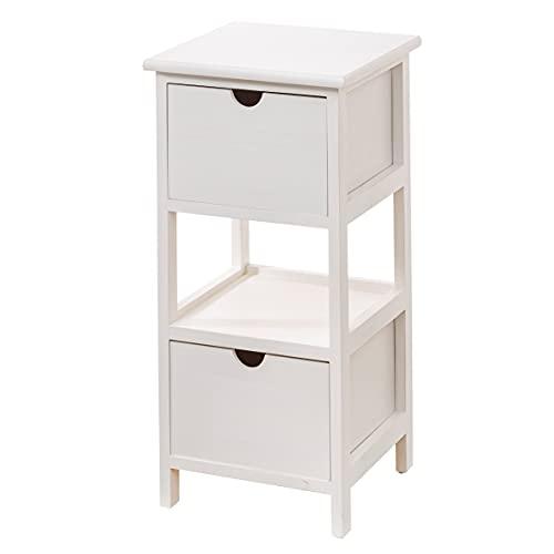 Baroni Home Mesita de noche, mueble de salón, dormitorio, baño, mueble multiusos, color blanco, 2 cajones, 1 estante, medidas 30 x 30 x 61 cm