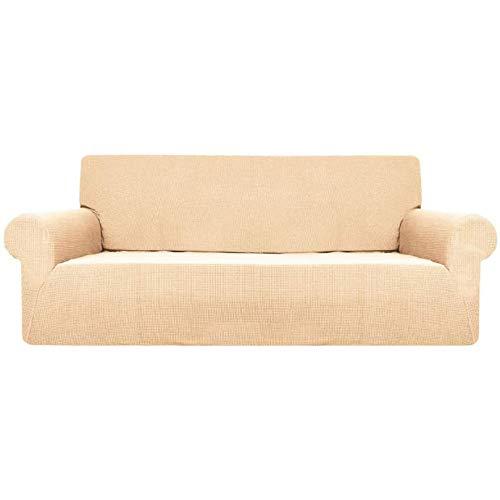 GAKIN F Funda de sofá impermeable de tela elástica, color liso, forro polar nórdico, blanco