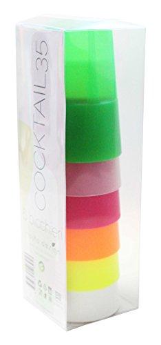 Mojito Design - Lot de 6 Verres à Cocktail en Plastique, Multicolore, 7,8 x 7,8 x 11,5 cm, 35 cl