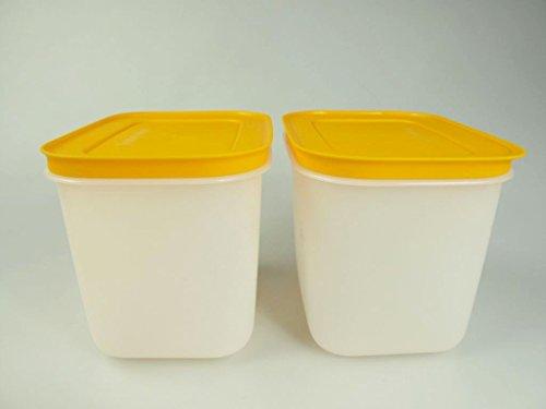 TUPPERWARE 2x 1,1 L Gefrier-Behälter hoch Eis-Kristall Eiskristall orange-weiß 27620