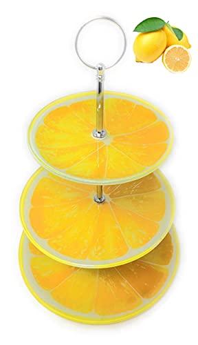 Frutero de Cristal y Barra de Acero de 3 Pisos para Fruta...
