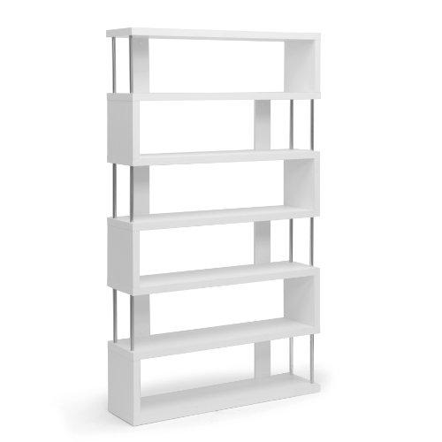Baxton Studio Barnes 6-Shelf Modern Bookcase, White