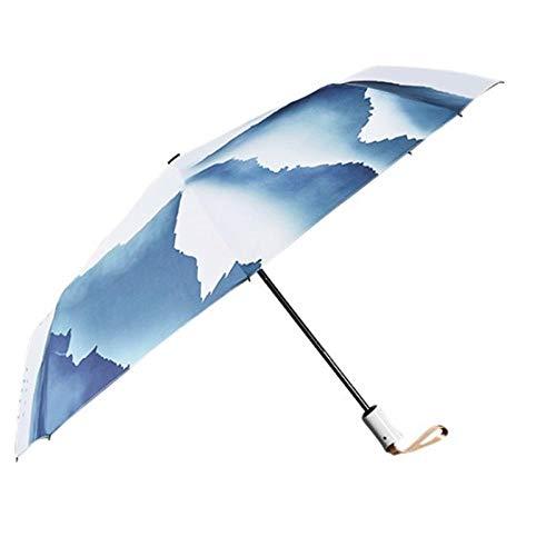 Winddicht en geventileerde dubbele luifel paraplu, volledige auto zonnescherm en anti-ultraviolette zon paraplu-Secluded Mountain Auto_Volledige slijtage, opvouwbare onbreekbare automatische paraplu