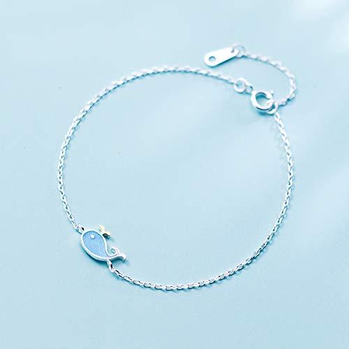DGFGCS Pulsera de Plata para Mujer 925 Pulseras De Ballena Azul Bonitas De Plata Esterlina para Mujer, Pulsera De Cadena De Verano para Mujer, Joyería, Regalo De Fiesta