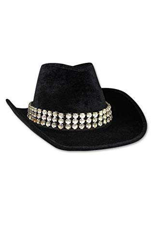 Horror-Shop Lady velvet hat noir avec des strass