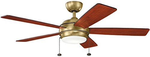Kichler 330174NBR, Starkk LED Natural Brass 52' Ceiling Fan with Light