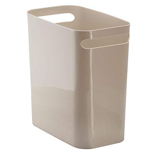 mDesign Slim Plastic Rectangular Large Trash Can Wastebasket, Garbage Container Bin, Handles for Bathroom, Kitchen, Home Office, Dorm, Kids Room - 12' High, Shatter-Resistant - Taupe/Tan