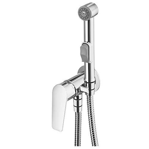 Jasmin - Grifo monomando para bidé con ducha de mano, cromado, grifo monomando para bidé