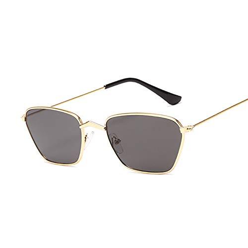 Heigmznvtyj Gafas de Sol Mujer Polarizadas, Metal cuadrado pequeño marco de gafas de sol para hombres y mujeres clásico retro rojo y amarillo película espejo de moda gafas de sol para mujeres y hombre