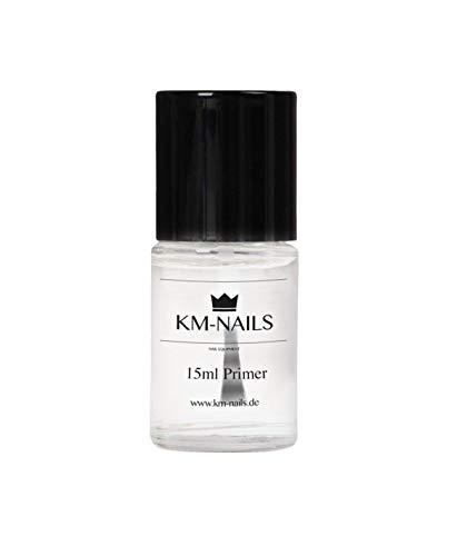 KM-Nails Gel & Acryl Primer mit Pinsel [Studio-Qualität] Starke Haftung » Entfettend « Haftvermittler – 15ml