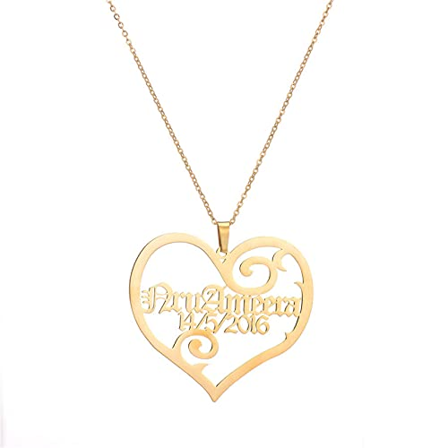 JIAQINGRNM Collar con nombre de corazón, collar de clavícula, cadena para hombres y mujeres, collar de amor a la moda, para el día de San Valentín, cumpleaños