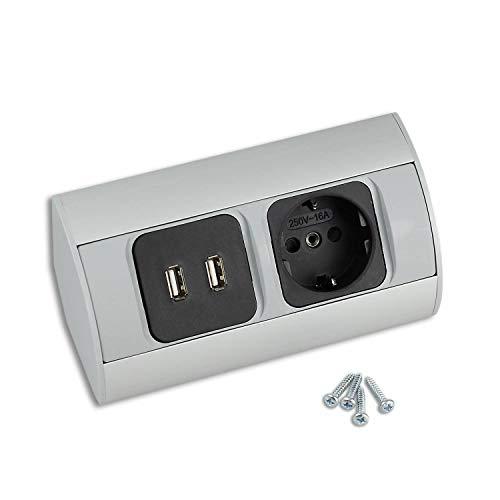 Enchufe para la cocina y la oficina - enchufe de esquina de aluminio de alta calidad ideal para la encimera, la mesa o debajo con 1x elemento de enchufe | 1x Schuko, 1x USB - 1x Schuko, 1x USB